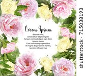 watercolor pink peonies and...   Shutterstock . vector #715038193