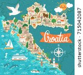 vector stylized map of croatia. ... | Shutterstock .eps vector #715042087