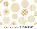 japanese golden print with... | Shutterstock .eps vector #715043683