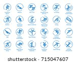 Winter sports icons set, vector pictograms for web, print and other projects. All olympic species of events in 2018 | Shutterstock vector #715047607