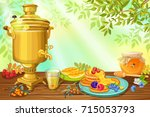 tea time in russia with honey... | Shutterstock .eps vector #715053793