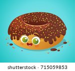 cute donut with sprinkles and... | Shutterstock .eps vector #715059853