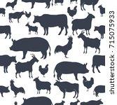 farm animals silhouette... | Shutterstock .eps vector #715075933