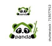 sweet panda with bamboo. logo... | Shutterstock .eps vector #715077913