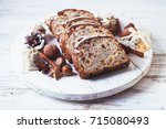 christmas cake   stollen | Shutterstock . vector #715080493