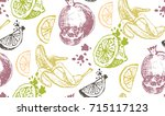 hand drawn doodle summer... | Shutterstock .eps vector #715117123