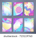 abstract posters set in trendy... | Shutterstock .eps vector #715119763