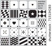 set of vector seamless patterns  | Shutterstock .eps vector #715134283