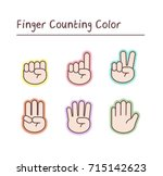 finger counting  color sticker .... | Shutterstock .eps vector #715142623