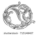 dragon. decorative black and... | Shutterstock .eps vector #715148407