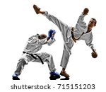two karate men sensei and... | Shutterstock . vector #715151203