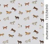 wild horses doodle illustration ... | Shutterstock .eps vector #715156543