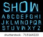 neon light alphabet 3d rendering | Shutterstock . vector #715164223