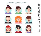 flat avatar collection with... | Shutterstock . vector #715168237