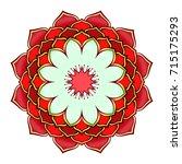 round mandala lotus flower...   Shutterstock .eps vector #715175293
