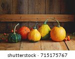Various Types Of Pumpkin On A...