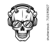 devil skull head with horns... | Shutterstock .eps vector #715190827
