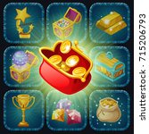 icons prizes for computer game... | Shutterstock .eps vector #715206793