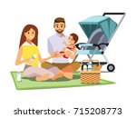 family  parents  baby  picnic... | Shutterstock .eps vector #715208773