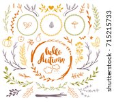 autumn set of floral doodles... | Shutterstock .eps vector #715215733