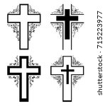 cross icons set. obituary... | Shutterstock .eps vector #715223977