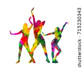 colored rainbow dancing girl.... | Shutterstock .eps vector #715230343