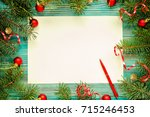 copy space christmas background ... | Shutterstock . vector #715246453
