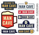 man cave. badges  icons ... | Shutterstock .eps vector #715255393