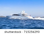 luxury yacht in the sea ... | Shutterstock . vector #715256293