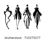 Fashion models sketch hand drawn , stylized silhouettes isolated.Vector fashion illustration set. | Shutterstock vector #715275277