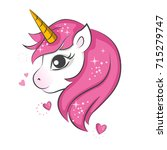 cute magical unicorn. vector... | Shutterstock .eps vector #715279747