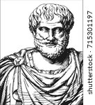 aristotle. vector black and... | Shutterstock .eps vector #715301197