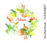 autumn greeting card with... | Shutterstock .eps vector #715303807