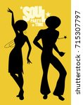 silhouettes of couple dancing... | Shutterstock .eps vector #715307797