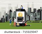 bitcoin concept vector... | Shutterstock .eps vector #715325047