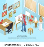 artist with paintbrush and... | Shutterstock .eps vector #715328767