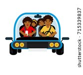 family african traveling by car | Shutterstock .eps vector #715339837
