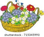 basket of numerous and... | Shutterstock .eps vector #715345993