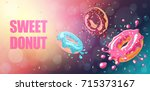 donuts with pink  chocolate and ... | Shutterstock .eps vector #715373167