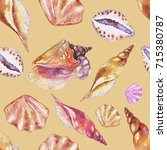 shells on the bottom of the sea.... | Shutterstock . vector #715380787