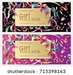 gift coupon with colorful... | Shutterstock .eps vector #715398163