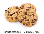 chocolate chip cookie on white... | Shutterstock . vector #715398703