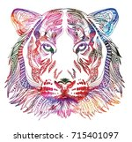 the head of a tiger. meditation ... | Shutterstock .eps vector #715401097