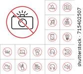 thin line no photo prohibition... | Shutterstock .eps vector #715402507