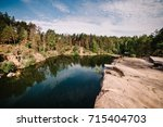 landscape of an old flooded...   Shutterstock . vector #715404703