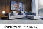 modern bright interiors. 3d... | Shutterstock . vector #715409467