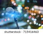 microphone in concert hall ... | Shutterstock . vector #715416463