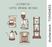 alternative coffee brewing... | Shutterstock .eps vector #715434823