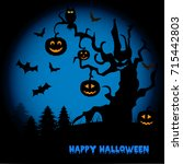 halloween night background with ... | Shutterstock .eps vector #715442803