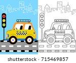 vector cartoon of taxi in the... | Shutterstock .eps vector #715469857